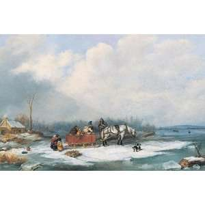 Cornelius Krieghoff   Winter Landscape (1849)   Canvas: Home & Kitchen