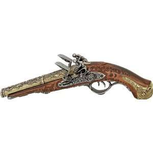 1806 Double Barrel / Double Trigger Flintlock Pistol   Wood and Metal