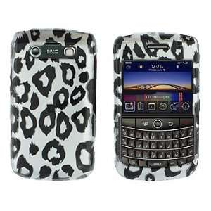 Silver with Black Leopard Print Design Snap on Hard Skin Shell Cover