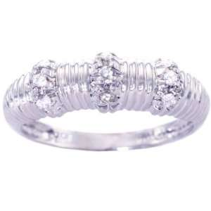 14K White Gold Diamond Cable Ring Diamond, size6.5