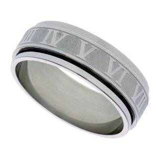 Surgical Steel 6mm Wedding Band Spinner Ring Laser Etched Roman