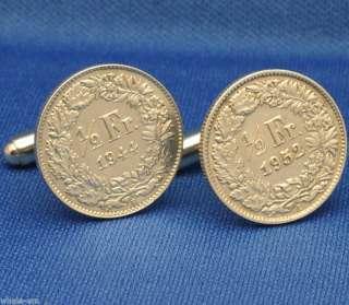 Switzerland Helvetia SILVER 1/2 Franc Coin Cufflinks
