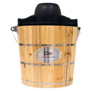 Elite Gourmet Wood Barrel 4 Qt Ice Cream Maker.Opens in a new window