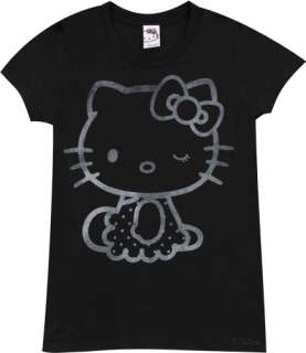 Winking Hello Kitty Ladies Black T Shirt From Mighty Fine