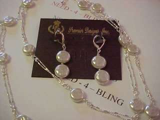 PREMIER DESIGNS JEWELRY SERENITY FAUX COIN PEARLS NECKLACE & EARRINGS