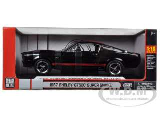 1967 SHELBY MUSTANG GT500 SUPER SNAKE BLACK W/RED 1/18 SHELBY