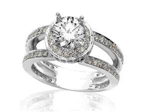 Halo Style With Double Row Pave Set Round Diamonds Engagement Ring