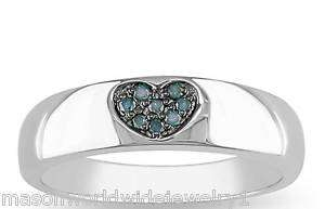 NEW DESIGNED BLUE DIAMOND HEART SILVER BAND RING