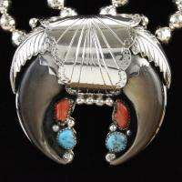 Sterling Silver Turquoise Coral Faux Bear Claw Necklace