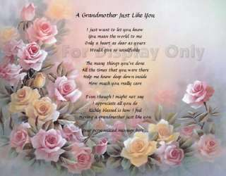 Grandma Gift Personalized Poem Birthday Or Christmas Gift Roses