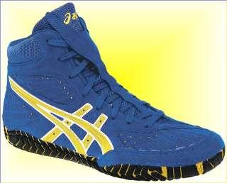 Asics Aggressor Mens Wrestling Shoes, Royal Blue/Gold/White, J000Y