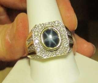 Mens Blue Star Sapphire & .30 ct t.w. Diamond Ring in 14k Yellow Gold