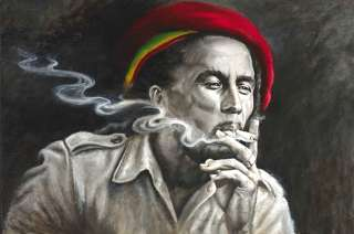 Bob Marley Joint Marijuana Rasta Reggae CD Painting Canvas Art Giclee