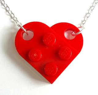 LEGO Heart Necklace. Silver or Gold Plated plate brick