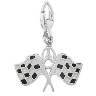 Sterling Silver Enamel Double Checkered Racing Flags Charm Bracelets