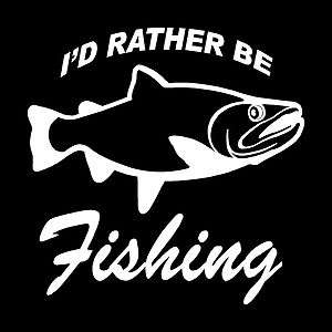 Rather Be Fishing Vinyl Decal Funny Bumper Sticker