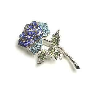 Blue Austrian Rhinestone Silver Tone Rose Flower Brooch