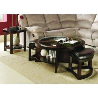 Home Designs 3219 Series Round Cocktail Table Set with Two Ottomans