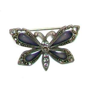 Silver Plated Antique Style Butterfly Brooch Pin with Swarovski