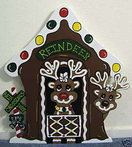 Gingerbread Reindeer Stable Christmas Yard Decoration