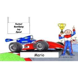 Indy Race Car Driver Personalized Cartoon Mouse Pad