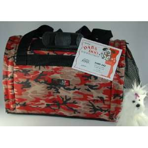 Daba Doo Pet Dog Cat Carrier Bon Voyage Bag Red Camo