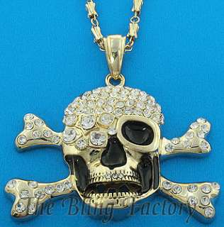 Mens Gold Plated Iced Out Hip Hop Skull Bling Pendant