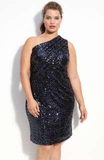 Calvin Klein One Shoulder Sequin Dress (Plus)