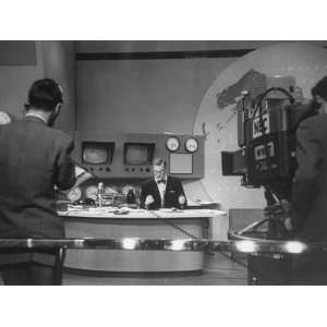 TV News Anchor Dave Garroway Working During His TV Program