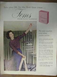 1958 Fems Feminine Napkins Pads Ad nice Colors