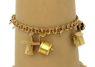 VINTAGE 14K GOLD LADIES MOVABLE CHARM BRACELET