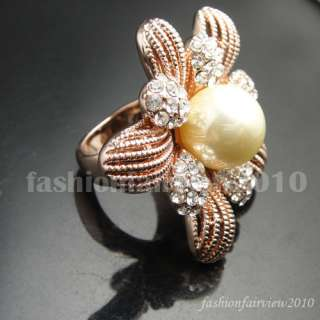 Rose Gold GP Swarovski Crystal Pearl Flower Ring VR090