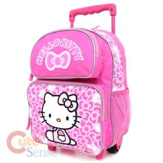 Sanrio Hello Kitty School Roller Backpack Rolling Bag Medium Pink Bows