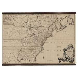 Authentic Models 1755 North America Map Scroll Decor
