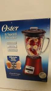 NEW Oster 8 Speed Blender Metallic Red BLSTMG RMB   6 Cup   450 Watts