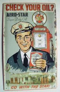 Vintage STAR OIL Gas Service Station Ad Tin Sign Pump