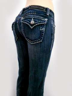 Women LA Idol Classic Jeans Heavy Stitch rhinestone Button Bootcut