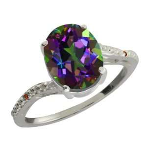 Ct Oval Green Mystic Quartz and Cognac Red Diamond 18k White Gold Ring