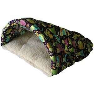 Pet Cave Hideaway Bed : Fabric PURPLE KITTIES & CREAM SHEEPSKIN : Size