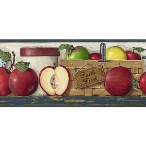 Red Blue Faithful Apples Wallpaper Border: Home & Kitchen