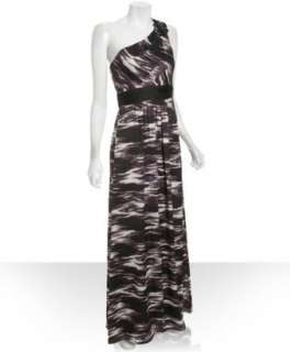 Max & Cleo black ikat printed one shoulder gown