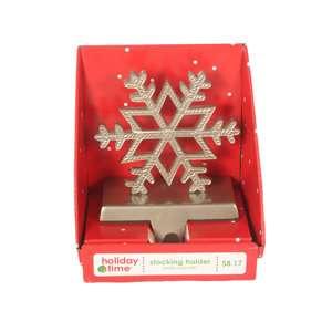 Holiday Time Snowflake Stocking Holder Christmas Decor
