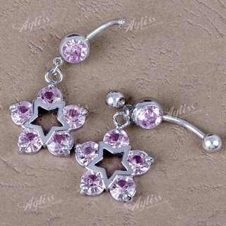 14G Pink Crystal Dangle Star Steel Belly Navel Ring Piercing