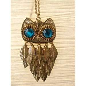 Fashion Gold Owl Multi Leaf Pendant Necklace with Chain Beauty