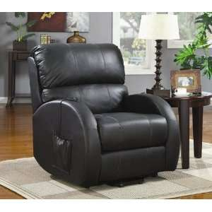 Power Lift Recliner with Side Bag in Black Leather