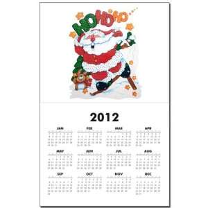 Calendar Print w Current Year Merry Christmas Santa Claus Skiing Ho Ho