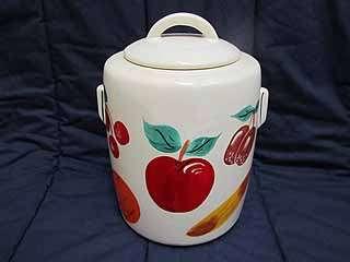 McCoy Pottery Hand Painted Fruit Design Cookie Jar EUC Large Peach
