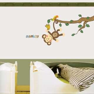 new cute WALL MURAL DECO STICKER MONKEY TREE NURSERY KIDS DECALS