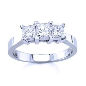 Carat Three Stone Princess Cut Diamond 14k White Gold Engagement Ring