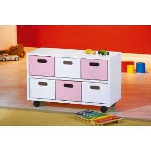 HOMELIFE24 14003001043 Caisson à tiroir sur roulette rose/blanc